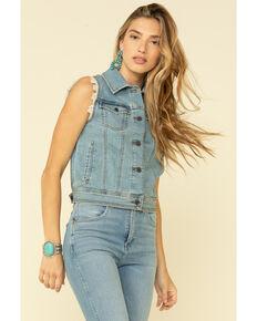 Wrangler Women's Blue Basic Denim Vest, Blue, hi-res