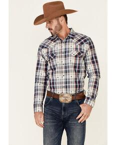 Cody James Men's Bull Dobby Plaid Long Sleeve Snap Western Shirt - Tall , Navy, hi-res