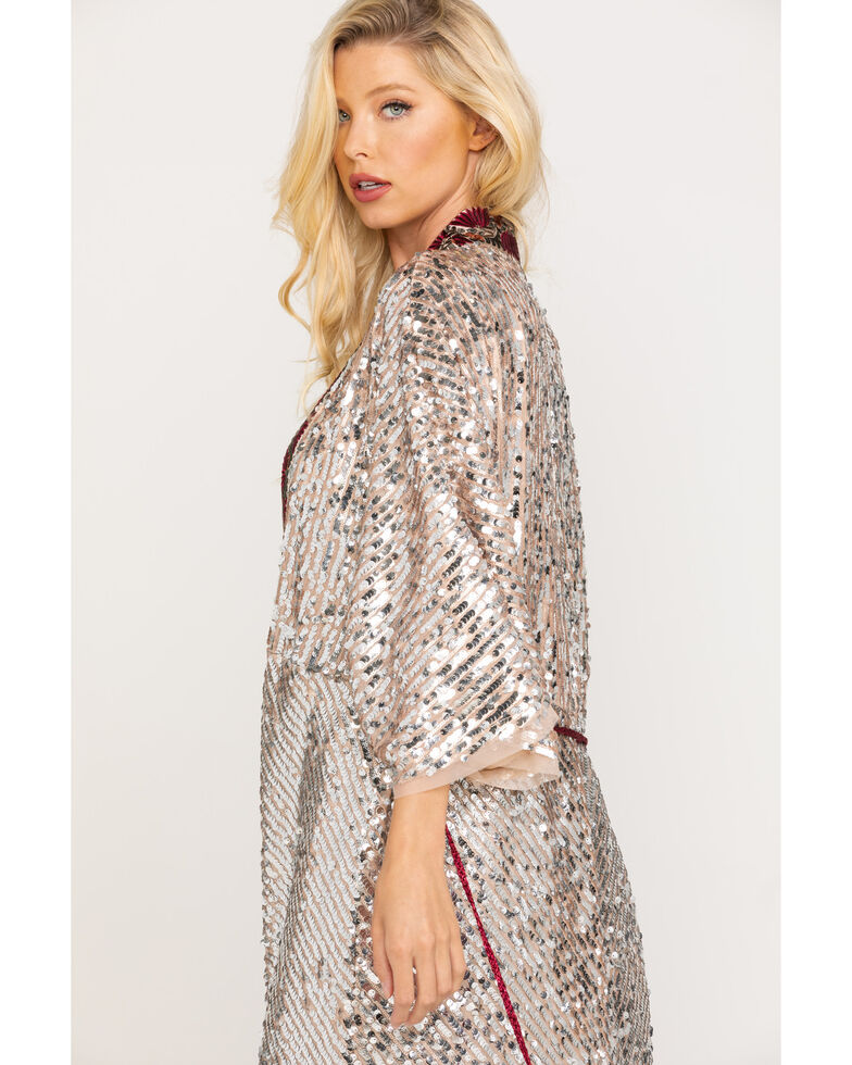 Free People Women's Silver Light Is Coming Duster, Silver, hi-res