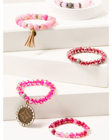 Keep it Gypsy Women's 5-piece Pink Beaded Bracelet Set, Pink, hi-res