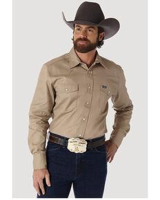 Wrangler Men's Solid Cowboy Cut Firm Finish Long Sleeve Work Shirt, Khaki, hi-res