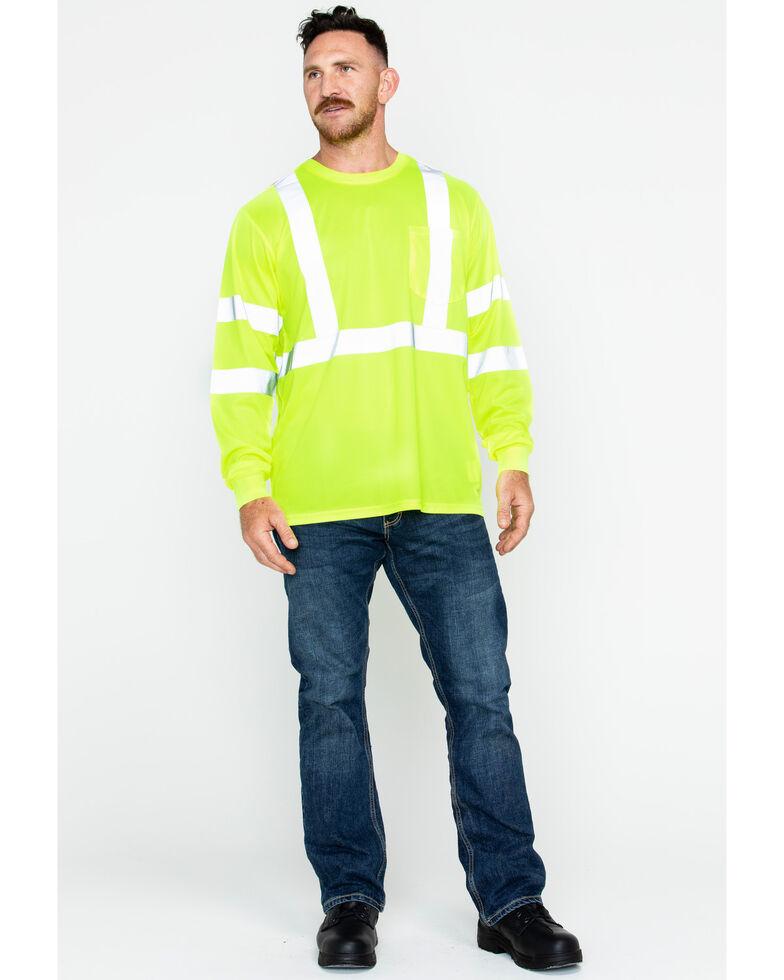Hawx Men's Reflective Long Sleeve Work Tee , Yellow, hi-res