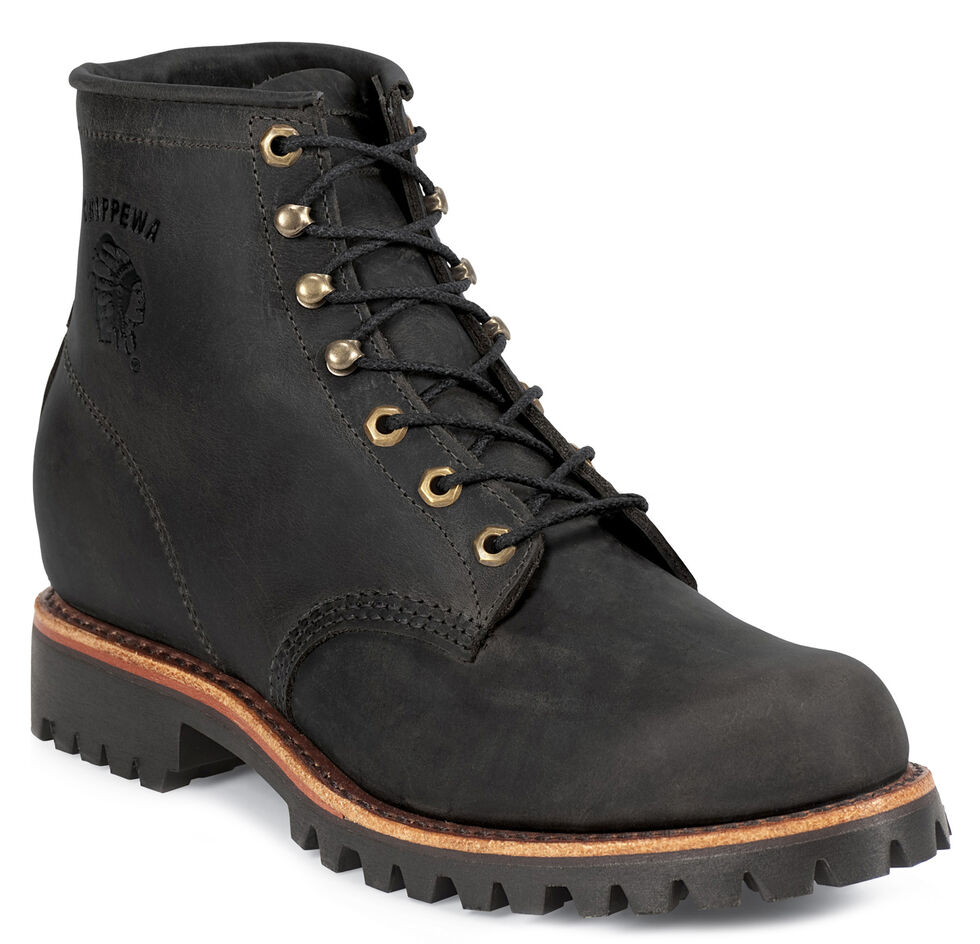 """Chippewa Men's Black Odessa 6"""" Lace-Up Work Boots - Round Toe, Black, hi-res"""