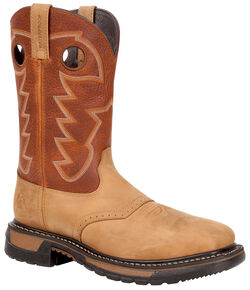Rocky Men's Original Ride Waterproof Western Boots - Steel Toe, Tan, hi-res