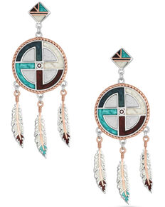 Montana Silversmiths Women's American Legends Dream Earrings, Silver, hi-res