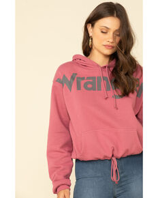 Wrangler Retro Women's Pink Logo Cropped Hooded Sweatshirt , Pink, hi-res