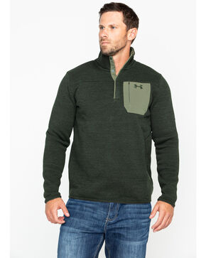 Under Armour Men's Green Solid Specialist Henley Fleece Shirt Jacket, Green, hi-res