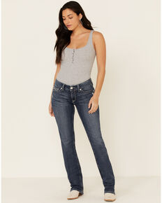 Ariat Women's Gianna Straight Leg Jeans, Blue, hi-res