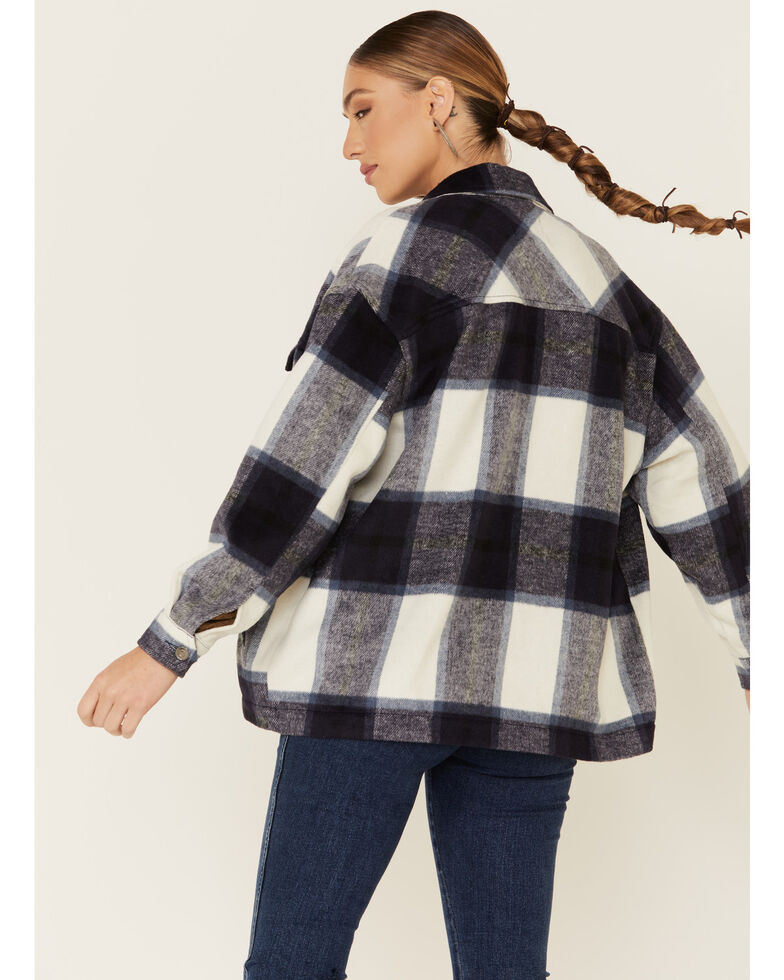 26 International Women's Brown Brushed Plaid Long Sleeve Western Shirt, Navy, hi-res