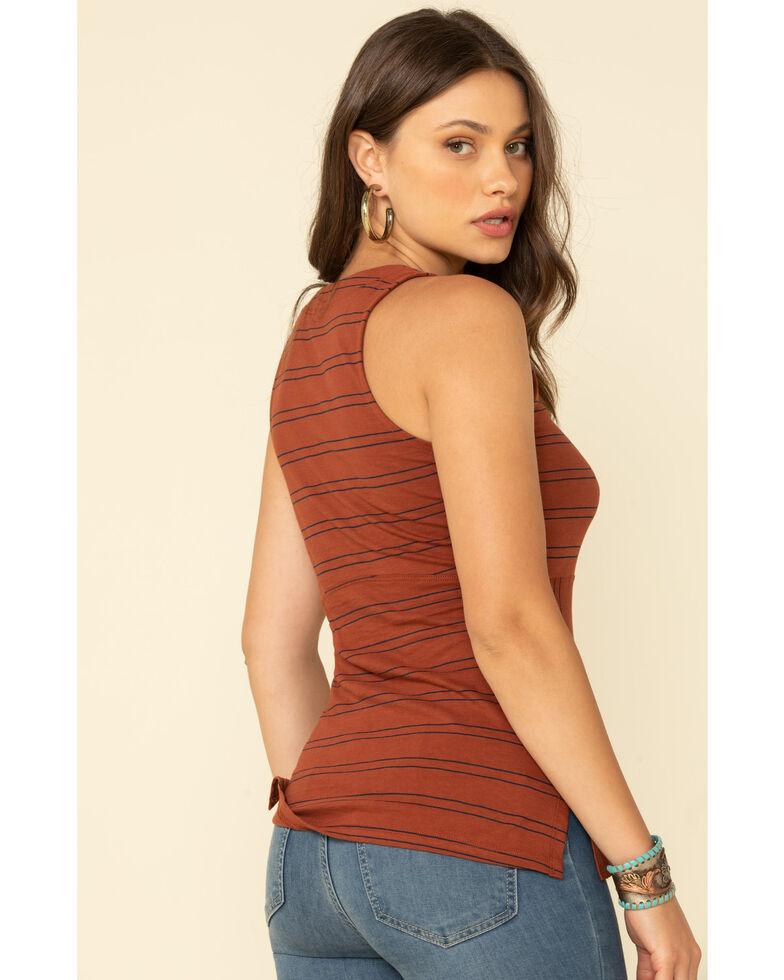 Shyanne Women's Stripe Button Front Tank Top, Rust Copper, hi-res