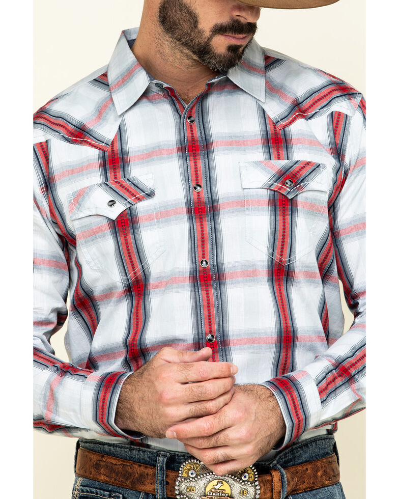 Cody James Men's Rough Talk Plaid Long Sleeve Western Shirt - Tall , Red, hi-res