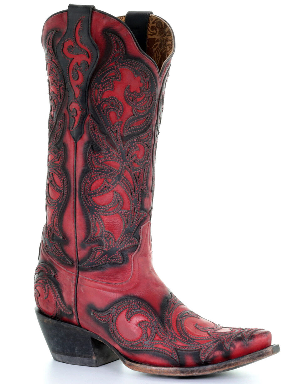 Corral Women's Black Red Overlay Western Boots - Snip Toe, Black, hi-res