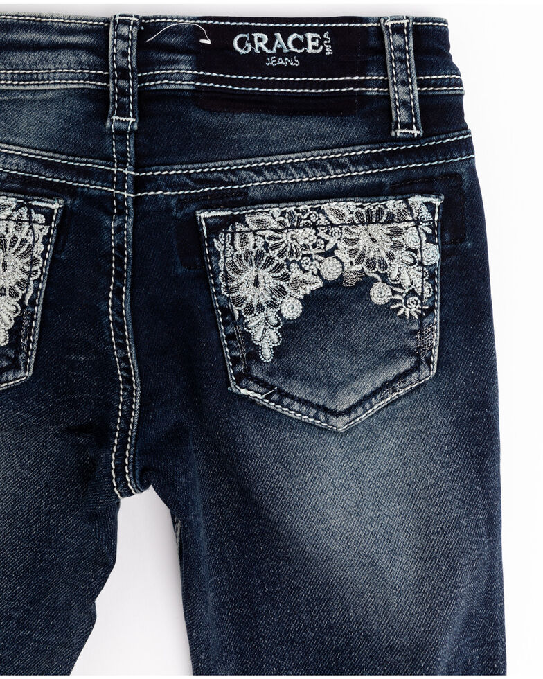 Grace in LA Toddler Girls' Medium Floral Lace Bootcut Jeans, , hi-res