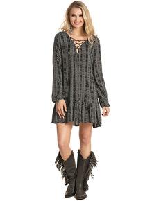 Rock & Roll Denim Women's Aztec Lace Front Dress , Black, hi-res