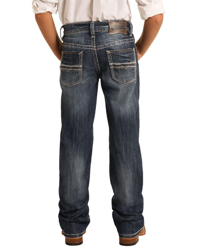Rock & Roll Denim Boys' Dark Vintage Stretch Regular Bootcut Jeans , Indigo, hi-res