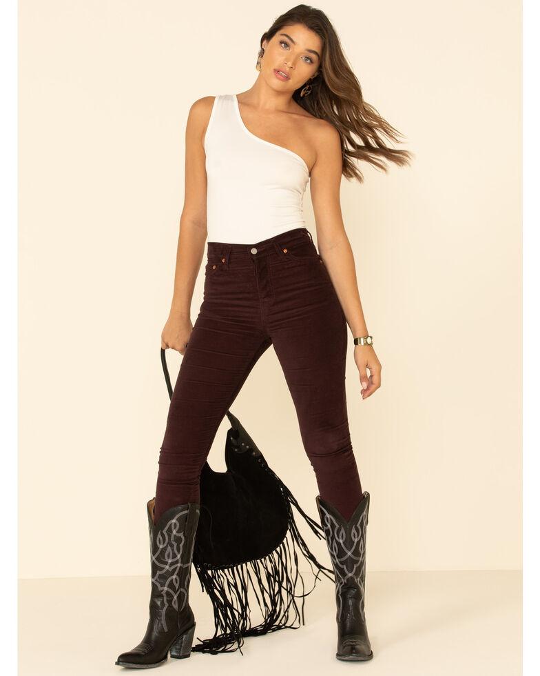 Levi's Women's Dark Burgundy Moleskin High Rise Wedgie Skinny Jeans , Burgundy, hi-res