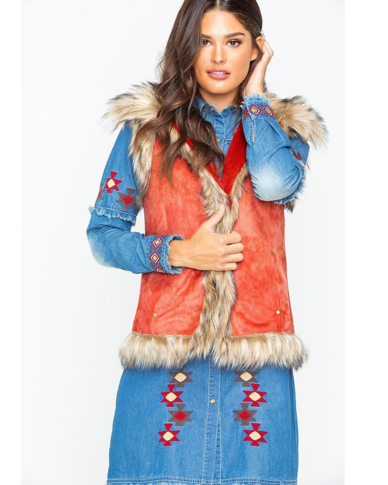 Tasha Polizzi Women's Western Luxe Vest , Red, hi-res