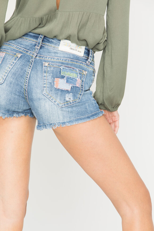 Grace in LA Patchwork Cutoff Shorts, Denim, hi-res