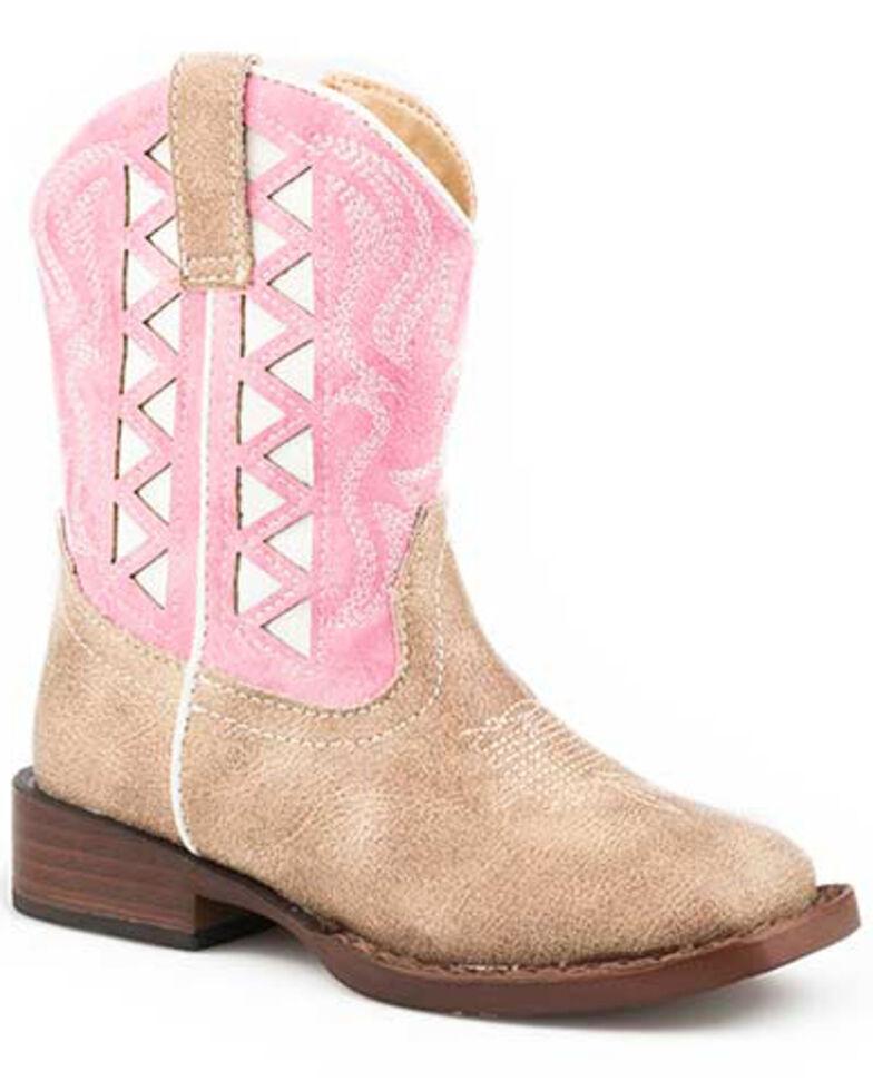 Roper Girls' Askook Western Boots - Square Toe, Pink, hi-res