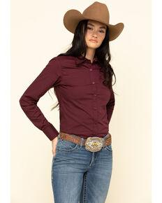 Ariat Women's Burgundy Kirby Stretch Long Sleeve Western Shirt , Burgundy, hi-res