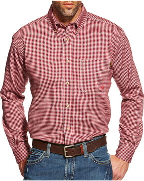 Ariat Flame Resistant Wine Plaid Work Shirt - Big & Tall, Wine, hi-res