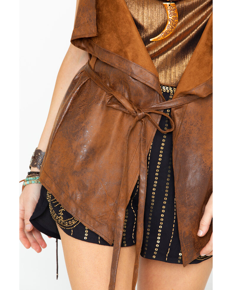 Cripple Creek Women's Distressed Faux Leather Tie Front Vest , Distressed Brown, hi-res