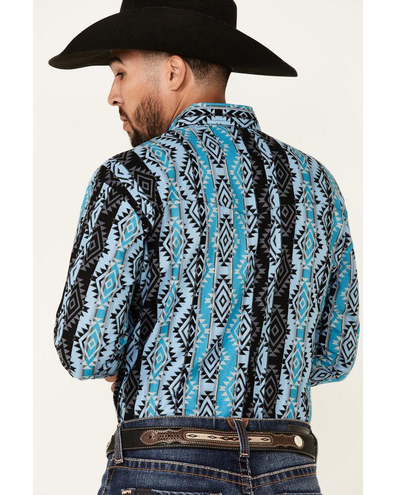 Wrangler Men's Blue Checotah Aztec Print Long Sleeve Snap Western Shirt - Big, Blue, hi-res