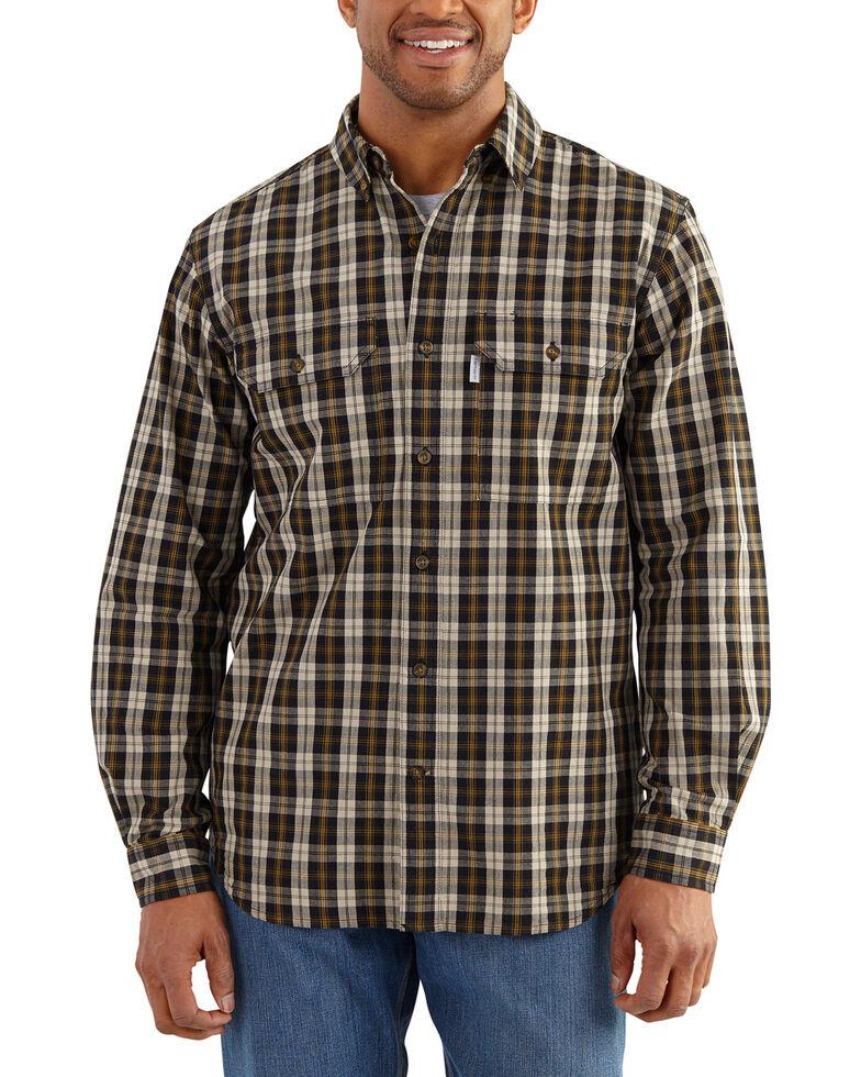 3f863896f1 Zoomed Image Carhartt Men's Black Fort Long-Sleeve Plaid Shirt , Black,  hi-res