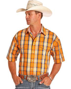 Panhandle Men's Orange Plaid Poplin Short Sleeve Shirt, Orange, hi-res