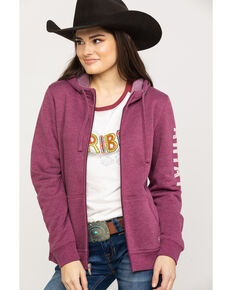 Ariat Women's R.E.A.L.Grape Wine Full Zip Hoodie , Wine, hi-res