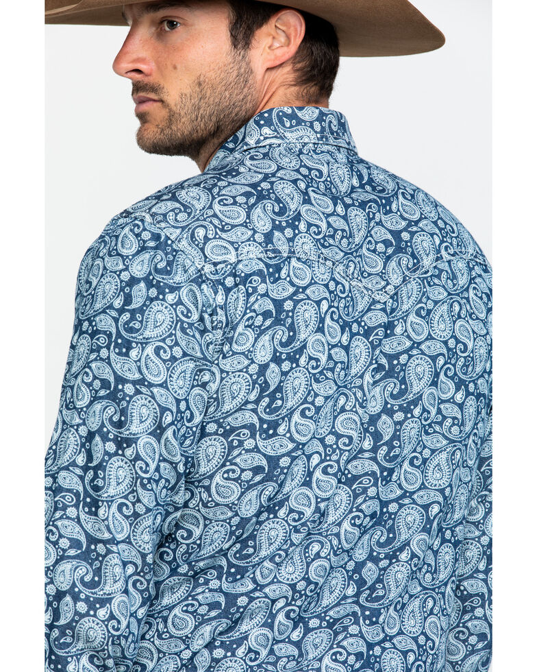 Wrangler Retro Men's Blue Paisley Print Long Sleeve Western Shirt , Blue, hi-res