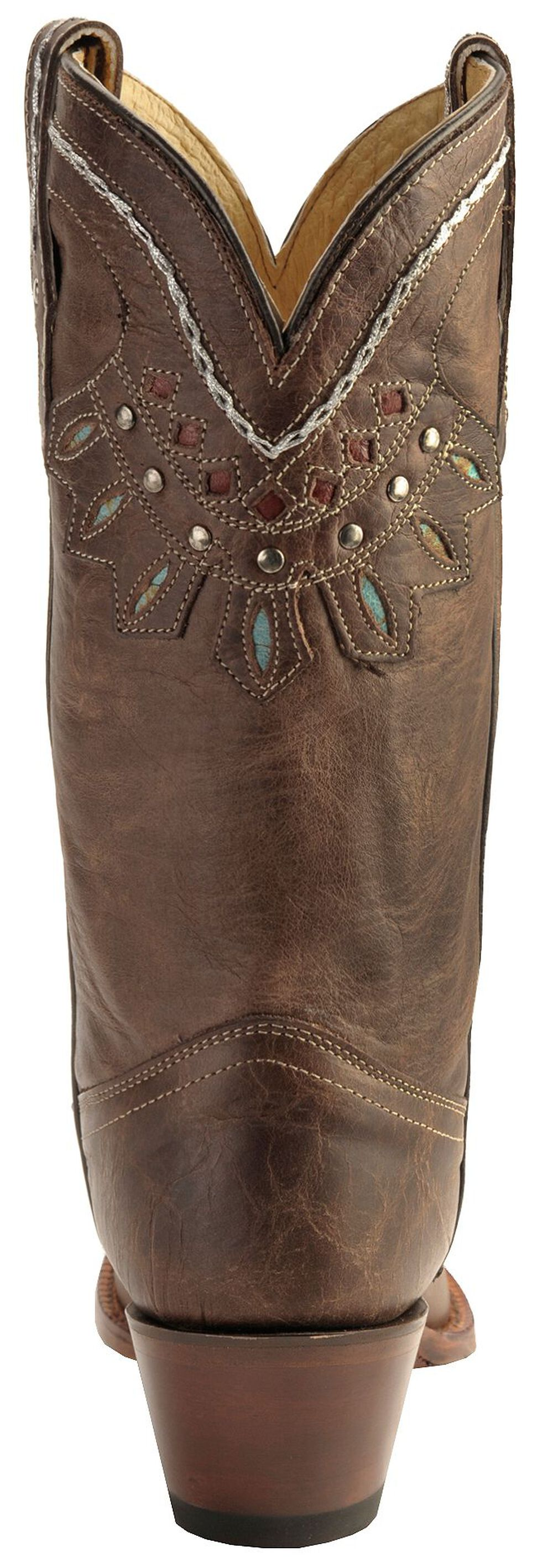 Tony Lama Vaquero Rancho Inlay Cowgirl Boots - Snip Toe, Chocolate, hi-res