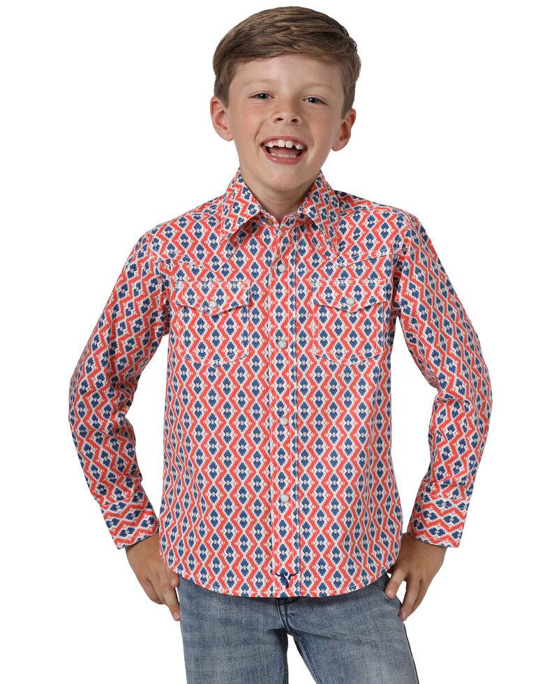 Wrangler 20X Boys' Coral Geo Print Advanced Comfort Long Sleeve Western Shirt , Coral, hi-res