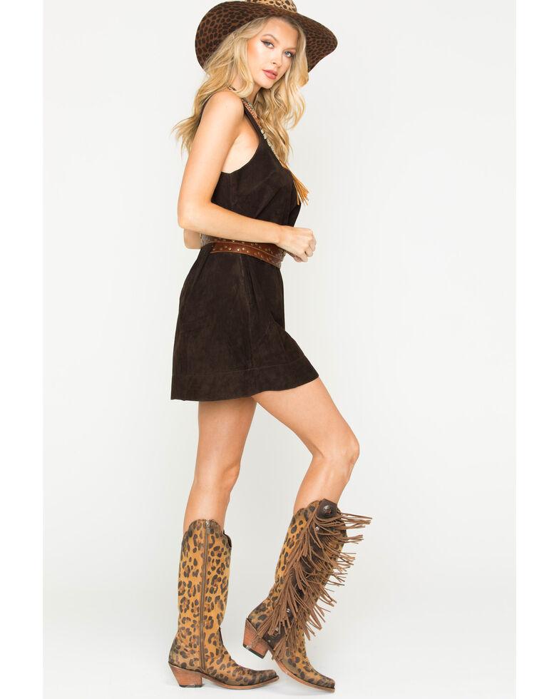 MI.OH.MI. Women's Suede Sleeveless Dress, Chocolate, hi-res