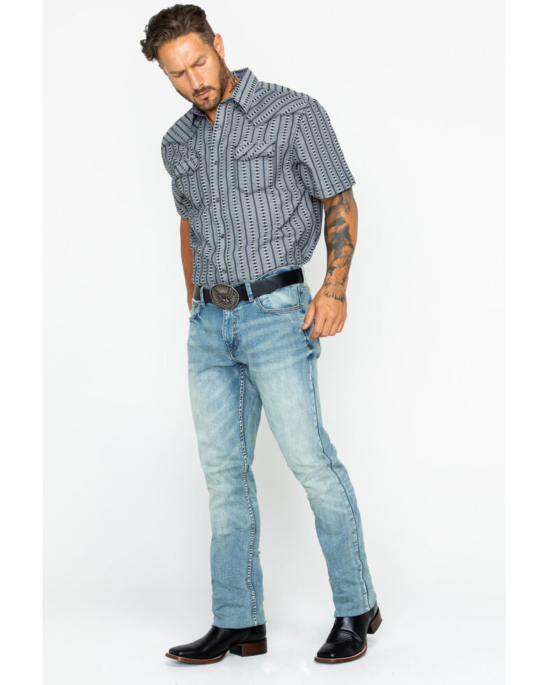 Moonshine Spirit Men's Sutton Light Stretch Slim Straight Jeans , Indigo, hi-res