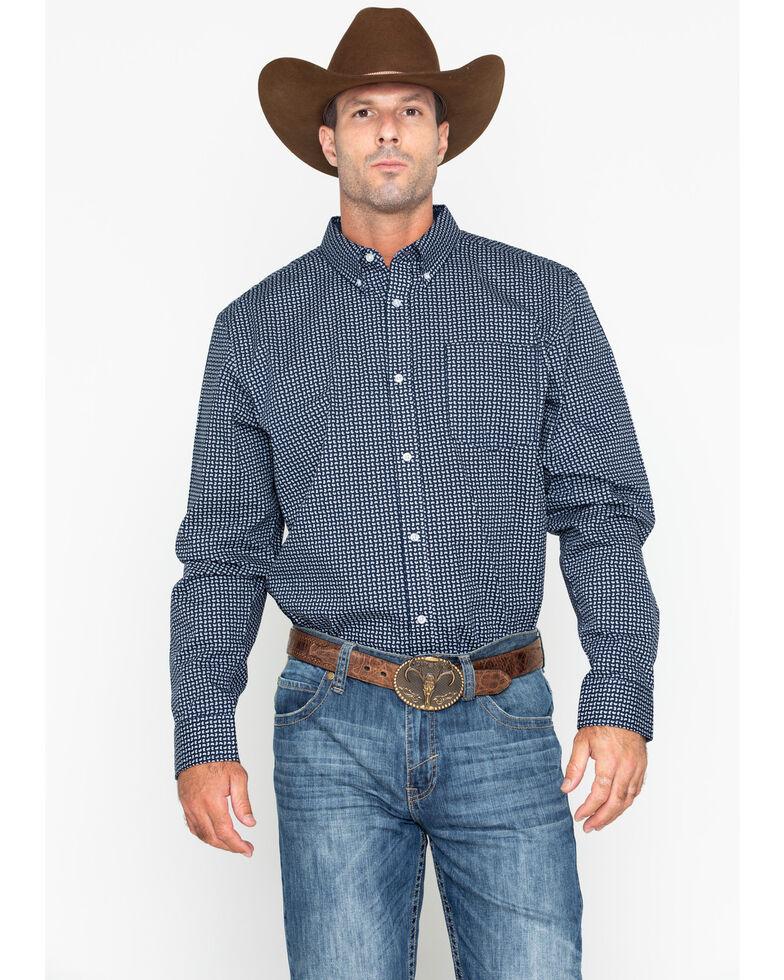 Cody James Core Men's Micro Geo Print Long Sleeve Western Shirt , Navy, hi-res
