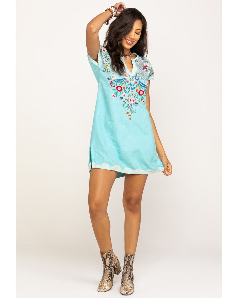 Johnny Was Women's Biscous Easy Long Tunic, Teal, hi-res