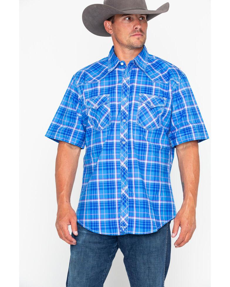 Wrangler 20X Men's Competition Advanced Comfort Plaid Short Sleeve Western Shirt , Blue, hi-res