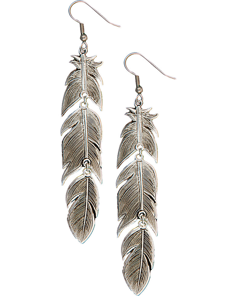 Montana Silversmiths Silver Plume Feather Dangle Earrings, Antique Silver, hi-res