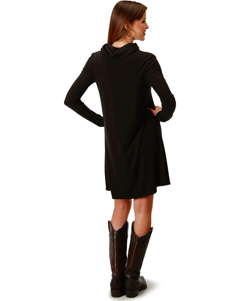 Roper Women's Black Cowl Neck Dress, Black, hi-res