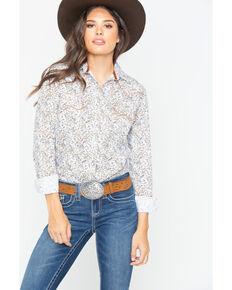 Panhandle Women's Floral Print Snap Long Sleeve Western Shirt , Ivory, hi-res