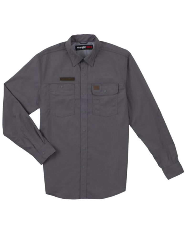 Wrangler Riggs Men's Solid Grey Vented Long Sleeve Button-Down Work Shirt - Tall, Grey, hi-res