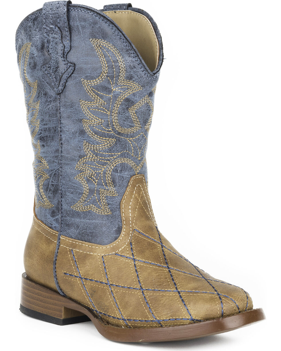 Roper Youth Boys' Tan Cross Cut Western Boots - Square Toe , Tan, hi-res