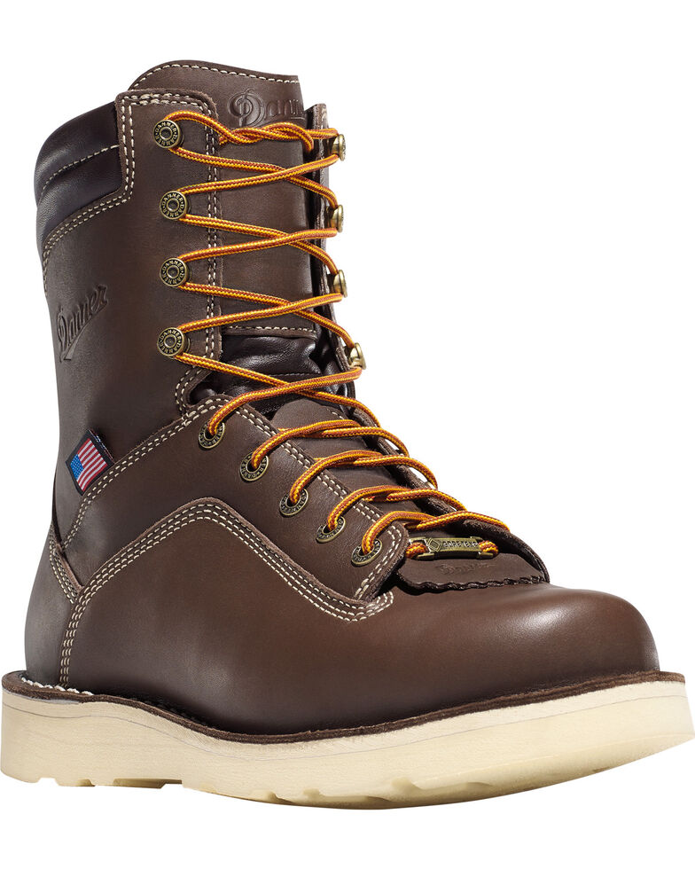 """Danner Men's Brown Quarry USA 8"""" Wedge Work Boots - Soft Round Toe , , hi-res"""