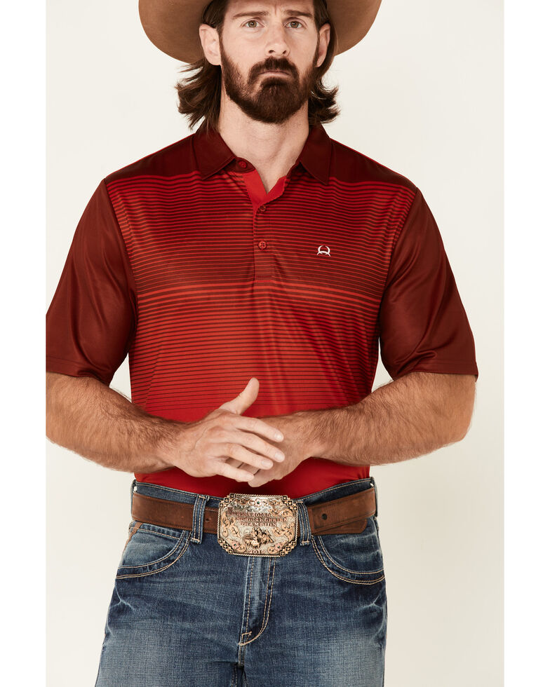 Cinch Men's Arena Flex Red Striped Short Sleeve Polo Shirt , Red, hi-res