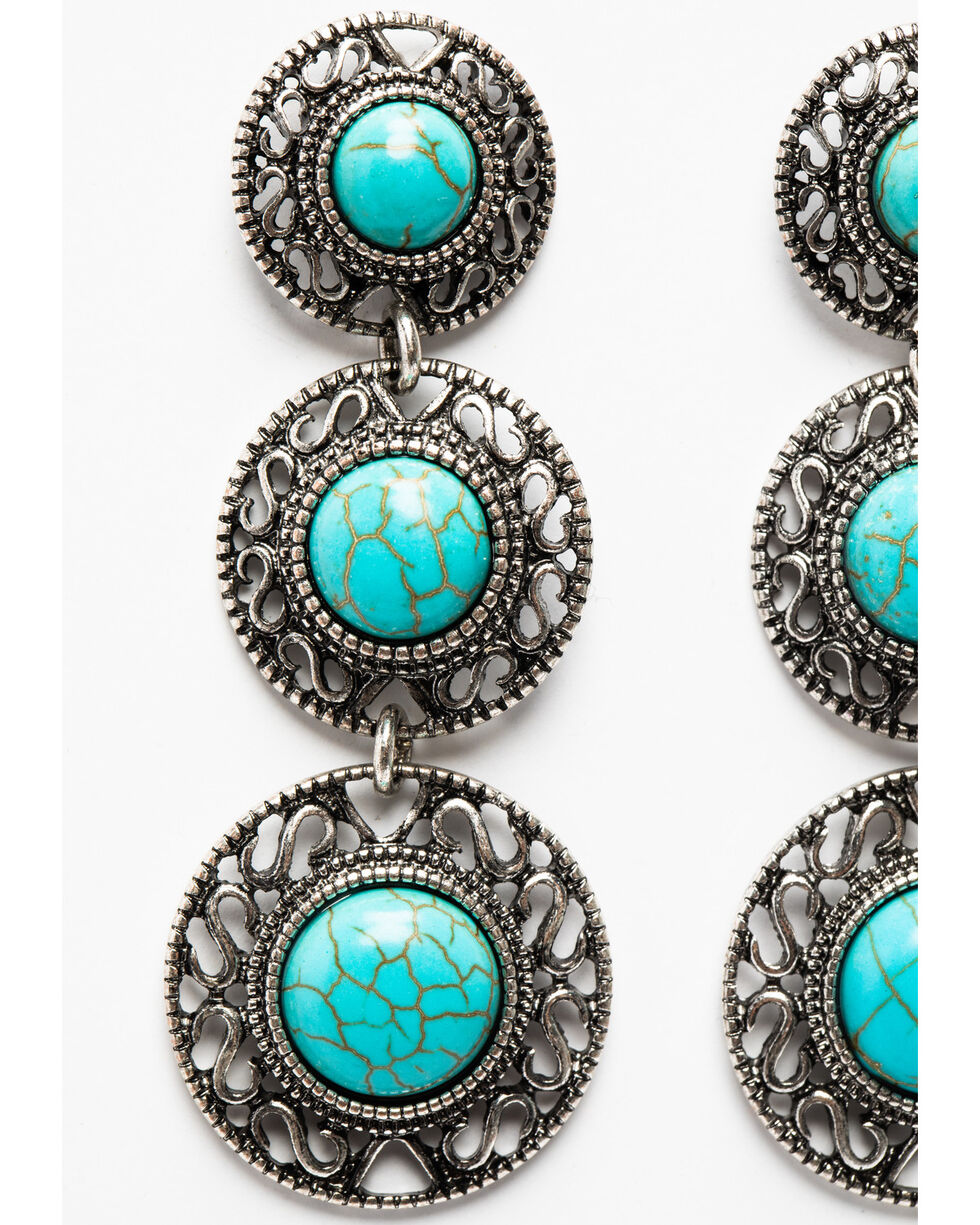 Shyanne Women's Triple Round Concho Gem Earrings , Silver, hi-res