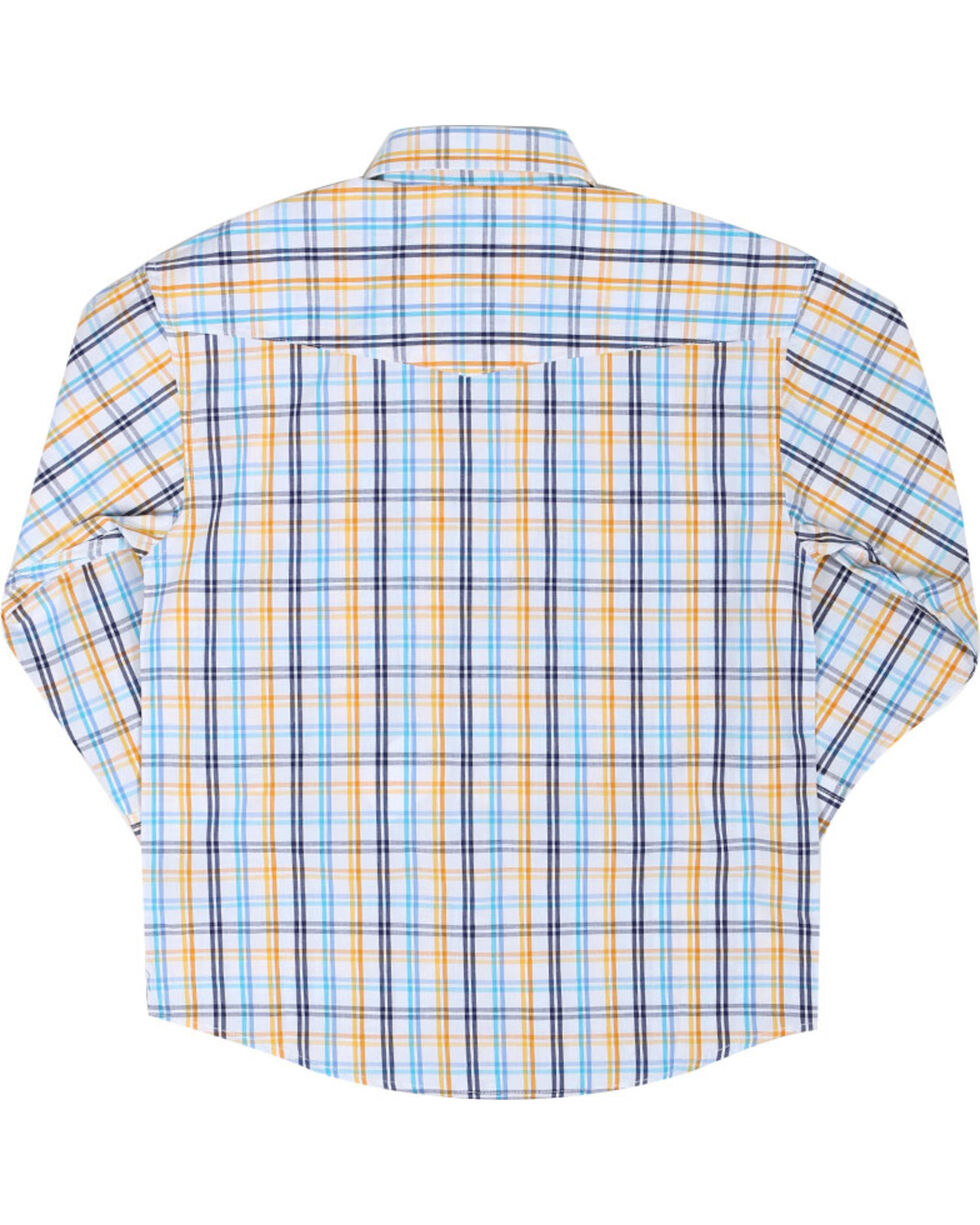 Panhandle Boys' Long Sleeve Button Down Snap Shirt, Blue, hi-res