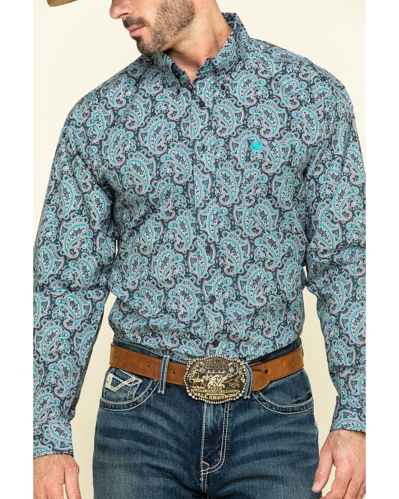 Cinch Men's Grey Paisley Print Long Sleeve Western Shirt - Big , Grey, hi-res