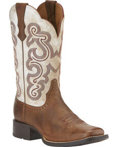 Ariat Women's Quickdraw Cowgirl Boots - Square Toe, Brown, hi-res