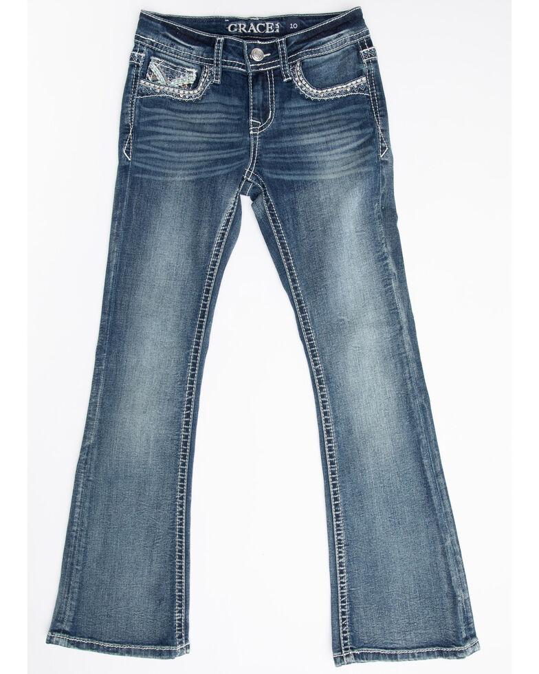 Grace in LA Girls' Medium V Embroidered Bootcut Jeans, Blue, hi-res